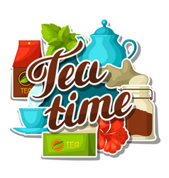 tea time background with tea and accessories vector image