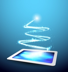 Technology background tablet with christmas tree vector
