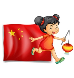 The flag of China at the back of the young Chinese vector image
