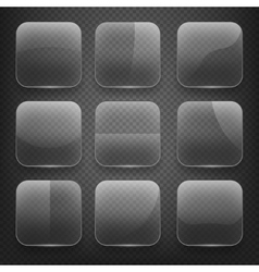 Transparent glass square app buttons on checkered vector image