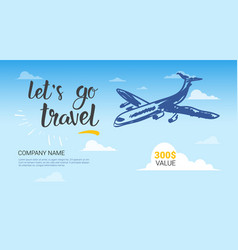 Travel company template banner airplane flying vector