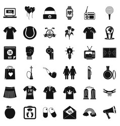 tshirt icons set simple style vector image