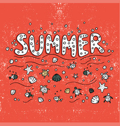 Unique lettering poster with word summer vector