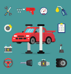 various details for car service flat vector image