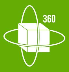 virtual cube icon green vector image