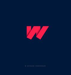 w logo w origami monogram vector image