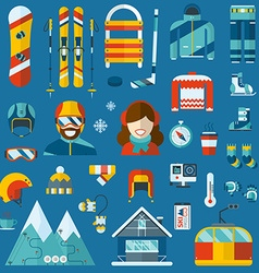 Winter Activity Flat Icon Collection vector image
