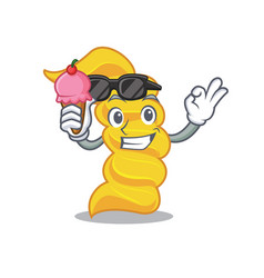with ice cream fusilli pasta character cartoon vector image