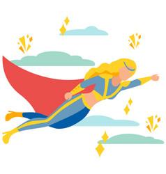 Woman superhero to rescue in minimalist style vector