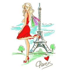 Fashion girl in Paris vector image vector image