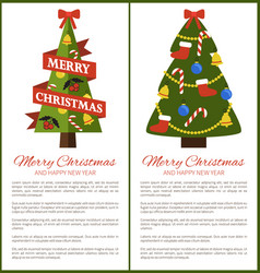 merry christmas happy new year posters with tree vector image vector image
