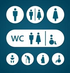 Restroom male female pregnant cripple oldster sign vector image vector image