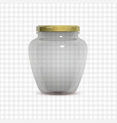 empty transparent glass jam jar vector image