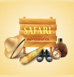 Safari travel accessories background vector image vector image