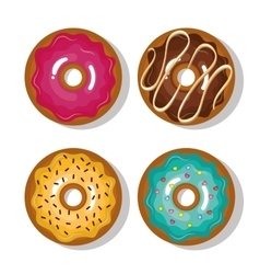 set icon donuts sweet isolated vector image vector image