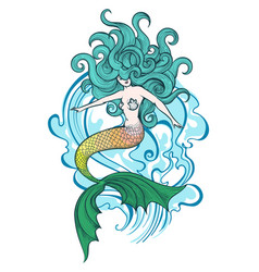 swimming mermaid vector image vector image