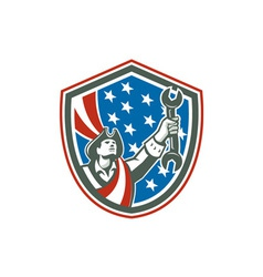 American Patriot Mechanic Holding Spanner Shield vector image vector image