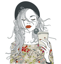 beautiful girl with coffee cup vector image vector image