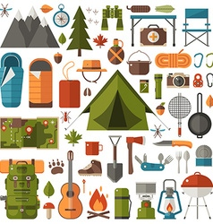 Camping and Hiking Equipment Set vector image vector image