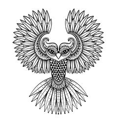 ornamental Owl ethnic zentangled mascot vector image vector image
