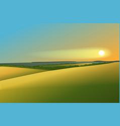Rural landscape with sunset vector image