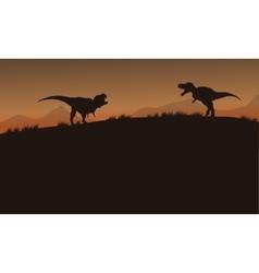 Scenery tyrannosaurus of silhouette vector image vector image