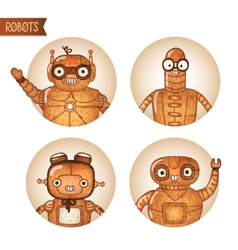 Steampunk robots iconset vector image
