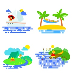 Summer activity icons set in flat style vector image