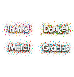 Thanks paper cards with confetti vector