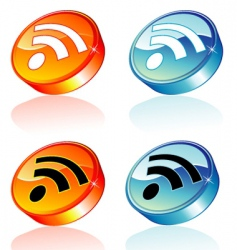 3D RSS feed icon vector image vector image