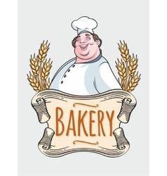 Chef baker label vector image vector image