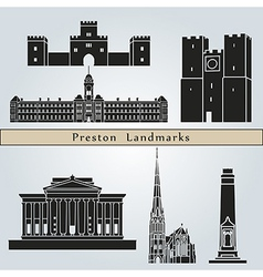 Preston landmarks and monuments vector image vector image