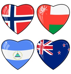 Set of images of hearts with the flags of Norway vector image