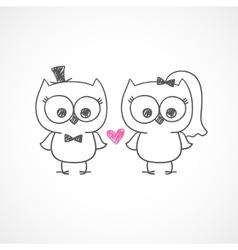 wedding owls vector image