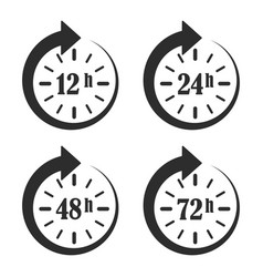 12 24 48 and 72 hours clock arrow work time vector image