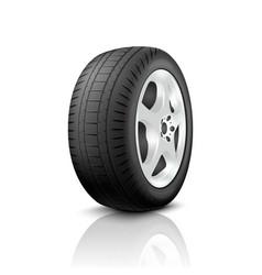 3d realistic render car wheel icon closeup vector image
