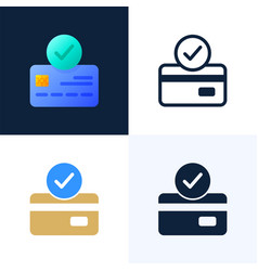 accepted payment credit card stock icon set the vector image
