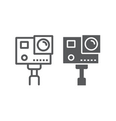 Action camera line and glyph icon electronic vector