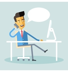 Asian manager sitting at desk and talking on phone vector