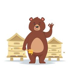 bear character showing a okay vector image
