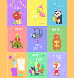 birthday cards with animals wildlife zebra turtle vector image