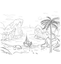 Boat on the beach vector