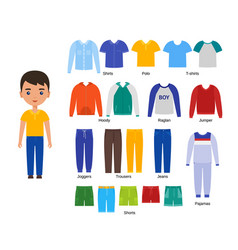 Boy clothes baclothing set in flat design vector