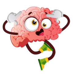 Brain is acting silly on white background vector