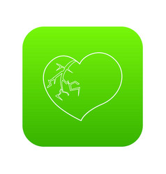 broken heart icon green vector image