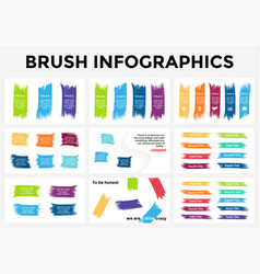 Brush stroke banners infographic templates vector