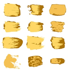 brush stroke gold paint abstract white background vector image