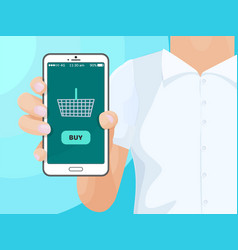 Buy screen of smartphone with shopping cart woman vector