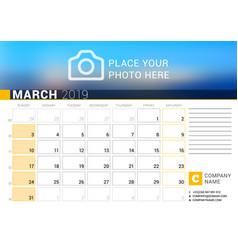 calendar for march 2019 design print template vector image