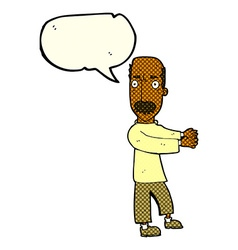 Cartoon balding man explaining with speech bubble vector